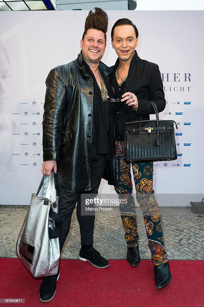 Designer Matthias Maus and actor Julian Stoeckel attend the premiere of the documentary 'Allein im Licht' ('Alone in the light') at the Babylon cinema on April 30, 2013 in Berlin, Germany.
