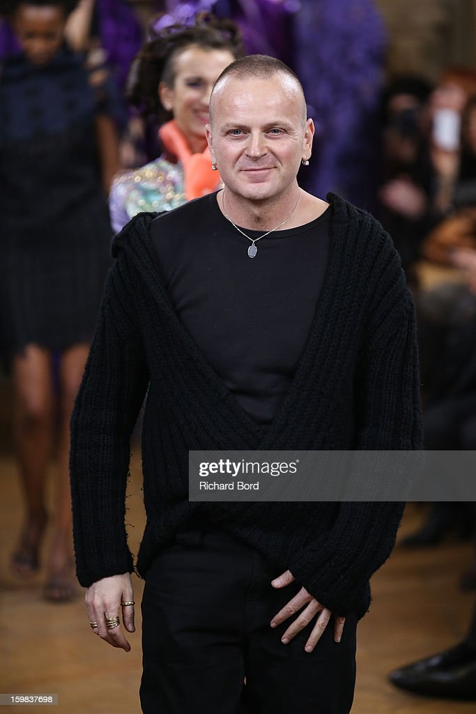 Designer Maurizio Galante walks the runway during the Maurizio Galante Spring/Summer 2013 Haute-Couture show as part of Paris Fashion Week at Theatre du Chatelet on January 21, 2013 in Paris, France.