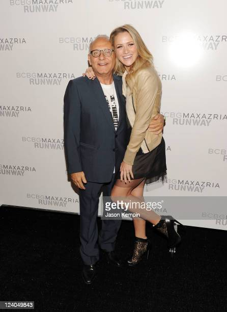Designer Max Azria and actress Anna Netrebko backstage at the BCBGMAXAZRIA Spring 2012 fashion show during MercedesBenz Fashion Week at The Theater...