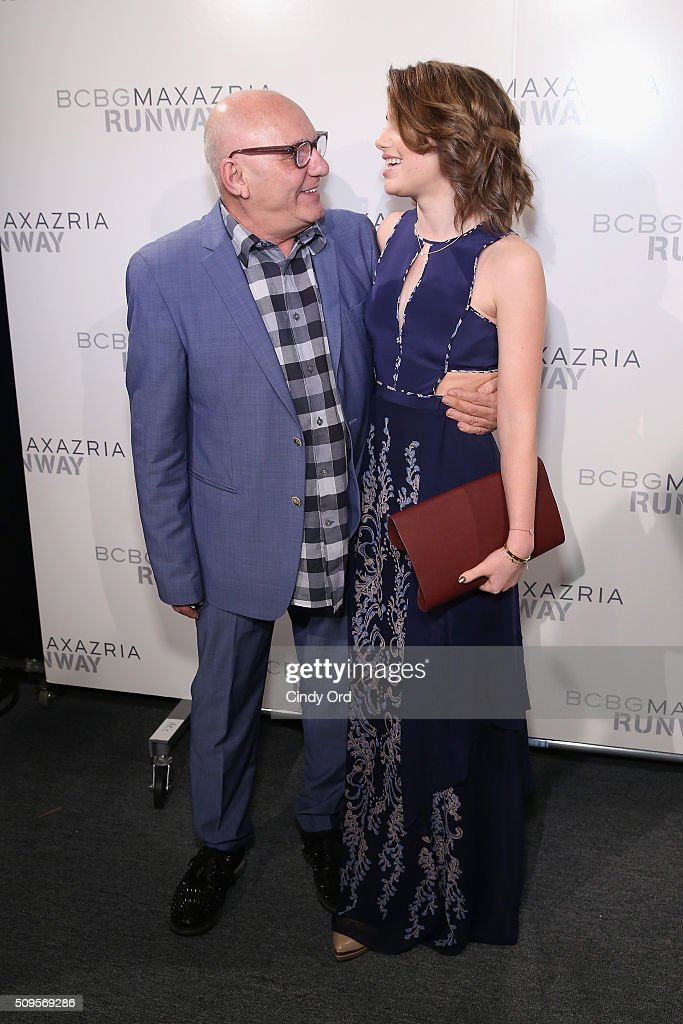 Designer Max Azria and actress <a gi-track='captionPersonalityLinkClicked' href=/galleries/search?phrase=Sami+Gayle&family=editorial&specificpeople=5053940 ng-click='$event.stopPropagation()'>Sami Gayle</a> pose backstage at the BCBGMAXAZRIA Fall 2016 fashion show during New York Fashion Week: The Shows at The Dock, Skylight at Moynihan Station on February 11, 2016 in New York City.