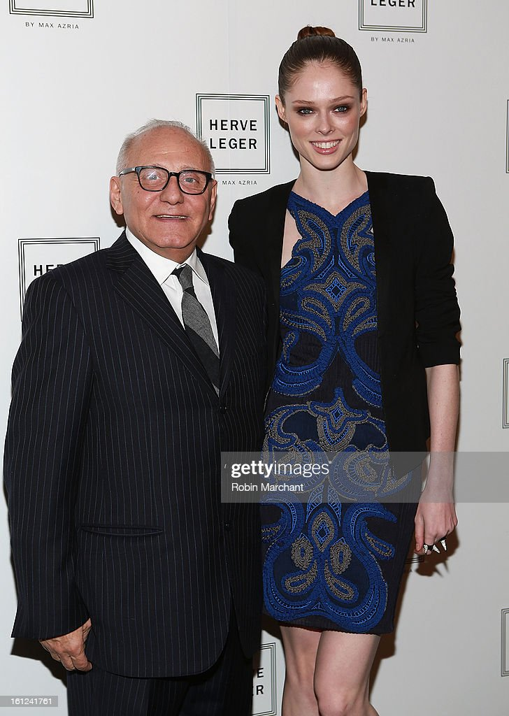 Designer Max Azria (L) and model <a gi-track='captionPersonalityLinkClicked' href=/galleries/search?phrase=Coco+Rocha&family=editorial&specificpeople=4172514 ng-click='$event.stopPropagation()'>Coco Rocha</a> attend Herve Leger By Max Azria during Fall 2013 Mercedes-Benz Fashion Week at The Theatre at Lincoln Center on February 9, 2013 in New York City.
