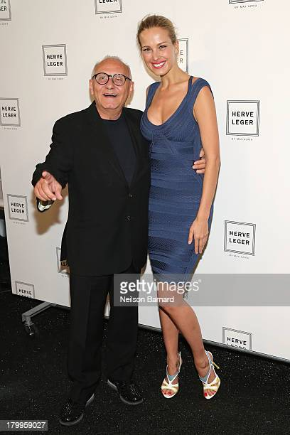 Designer Max Azria and Petra Nemcova posebackstage at the Herve Leger By Max Azria fashion show during MercedesBenz Fashion Week Spring 2014 at The...