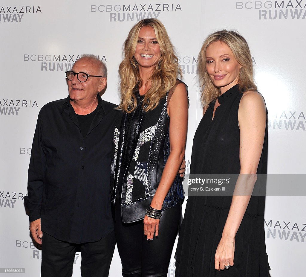 Designer Max Azria, model <a gi-track='captionPersonalityLinkClicked' href=/galleries/search?phrase=Heidi+Klum&family=editorial&specificpeople=178954 ng-click='$event.stopPropagation()'>Heidi Klum</a> and designer <a gi-track='captionPersonalityLinkClicked' href=/galleries/search?phrase=Lubov+Azria&family=editorial&specificpeople=2281952 ng-click='$event.stopPropagation()'>Lubov Azria</a> pose backstage at the BCBGMAXAZRIA show during Spring 2014 Mercedes-Benz Fashion Week at The Theatre at Lincoln Center on September 5, 2013 in New York City.