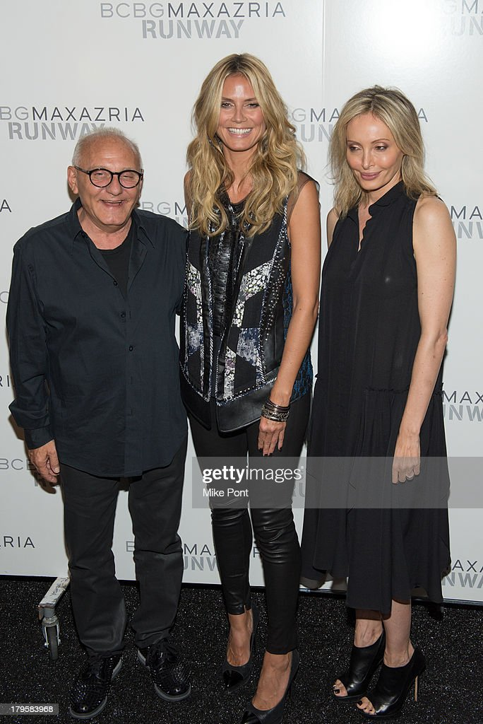 Designer Max Azria, Model <a gi-track='captionPersonalityLinkClicked' href=/galleries/search?phrase=Heidi+Klum&family=editorial&specificpeople=178954 ng-click='$event.stopPropagation()'>Heidi Klum</a>, and <a gi-track='captionPersonalityLinkClicked' href=/galleries/search?phrase=Lubov+Azria&family=editorial&specificpeople=2281952 ng-click='$event.stopPropagation()'>Lubov Azria</a> attend the BCBGMAXAZRIA Spring 2014 fashion show at The Theatre Lincoln Center on September 5, 2013 in New York City.