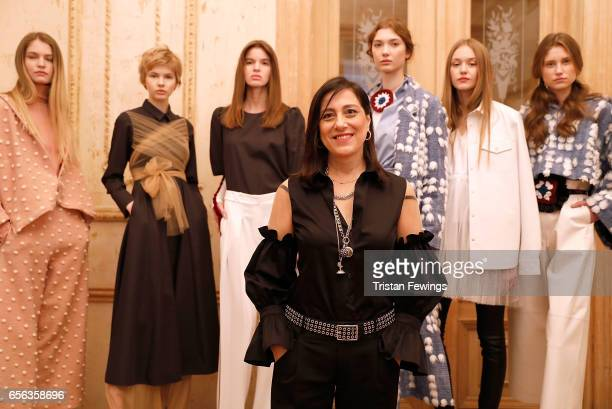 Designer Mehtap Elaidi with models during the Mehtap Elaidi presentation during MercedesBenz Istanbul Fashion Week March 2017 at Grand Pera on March...