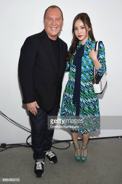 Designer Michael Kors and actress Min Hyorin attends the Michael Kors Collection Fall 2017 runway show at Spring Studios on February 15 2017 in New...