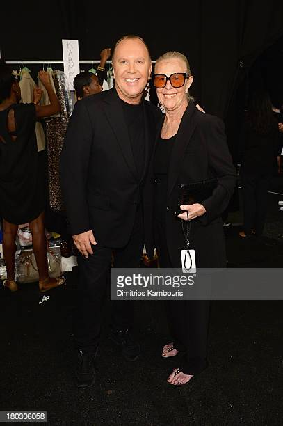Designer Michael Kors and Joan Kors backstage at the Michael Kors fashion show during MercedesBenz Fashion Week Spring 2014 at The Theatre at Lincoln...