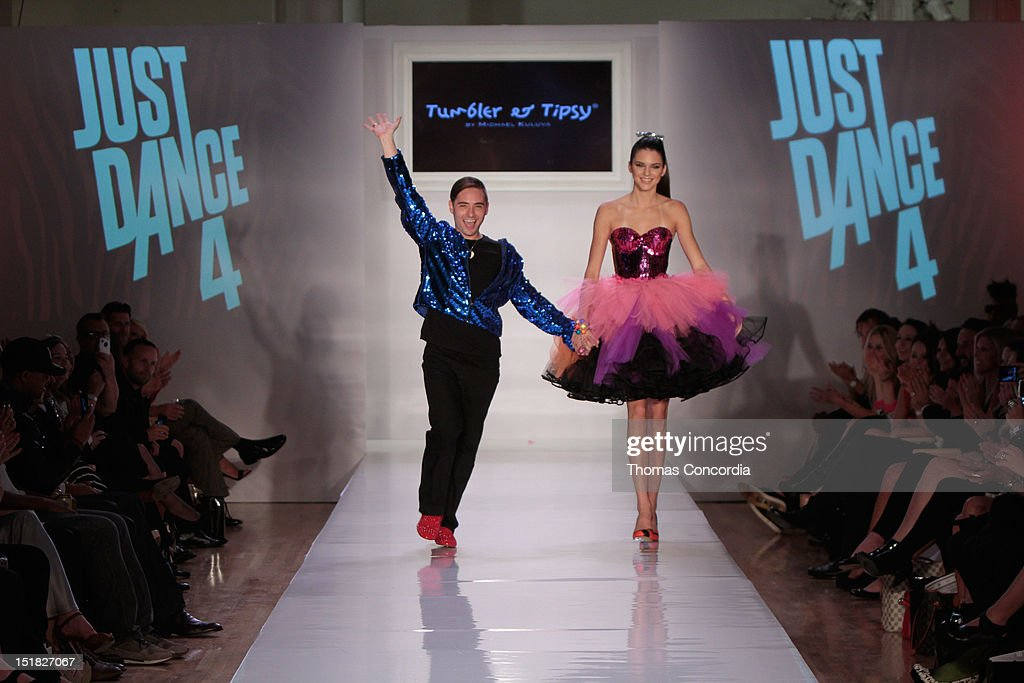 Designer Michael Kuluva and <a gi-track='captionPersonalityLinkClicked' href=/galleries/search?phrase=Kendall+Jenner&family=editorial&specificpeople=2786662 ng-click='$event.stopPropagation()'>Kendall Jenner</a> walk the runway at the Tumbler and Tipsy by Michael Kuluva fashion show presented by UbiSoft's 'Just Dance 4' at STYLE360 in the Metropolitan Pavilion on September 11, 2012 in New York City.