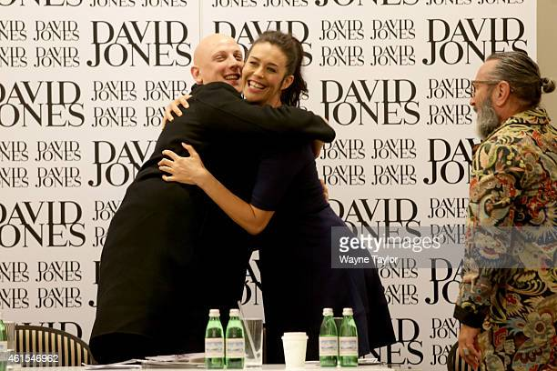 Designer Michael Lo Sordo David Jones Ambassador Megan Gale and David Jones head Stylist Kelvin Harries attend the David Jones Autumn Winter 2015...