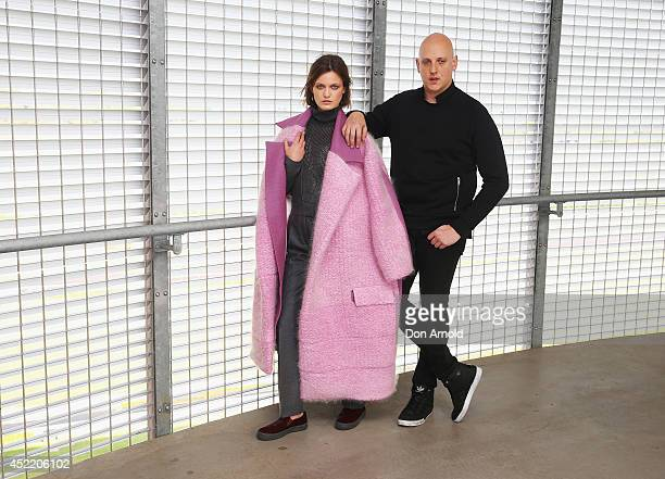 Designer Michael Lo Sordo poses alongside a model during the International Australian Regional Award Woolmark Prize event at The Stables at Randwick...