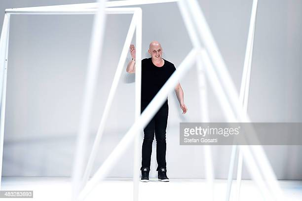 Designer Michael Lo Sordo thanks the audience after the Michael Lo Sordo show during MercedesBenz Fashion Week Australia 2014 at Carriageworks on...