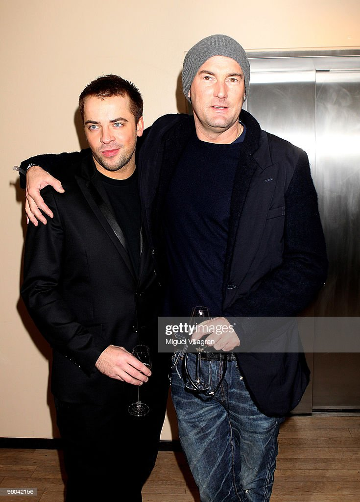 Designer Michael Michalsky and his friend <a gi-track='captionPersonalityLinkClicked' href=/galleries/search?phrase=Jan+Fischer&family=editorial&specificpeople=4250425 ng-click='$event.stopPropagation()'>Jan Fischer</a> attend the Gala Fashion Brunch during the Mercedes-Benz Fashion Week Berlin Autumn/Winter 2010 at the Bebelplatz on January 23, 2010 in Berlin, Germany.