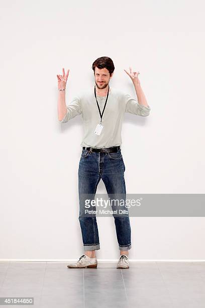 Designer Michael Sontag appears at the end of the runway after the runway at the Michael Sontag show during the MercedesBenz Fashion Week...