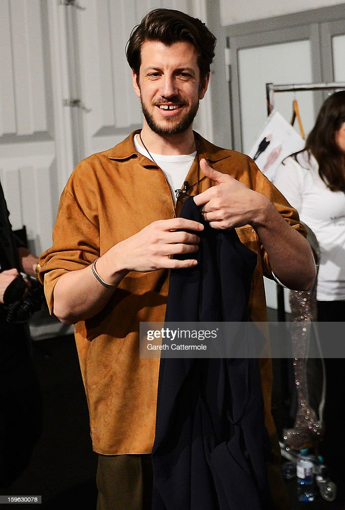 Designer Michael Sontag backstage ahead of his Autumn/Winter 2013/14 fashion show during Mercedes-Benz Fashion Week Berlin at Brandenburg Gate on January 17, 2013 in Berlin, Germany.