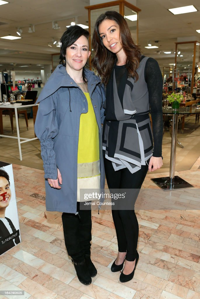 Designer Michelle Franklin and Justina Kalaj of Lord & Taylor during an in-store visit at the Lord & Taylor Flagship store on March 22, 2013 in New York City.