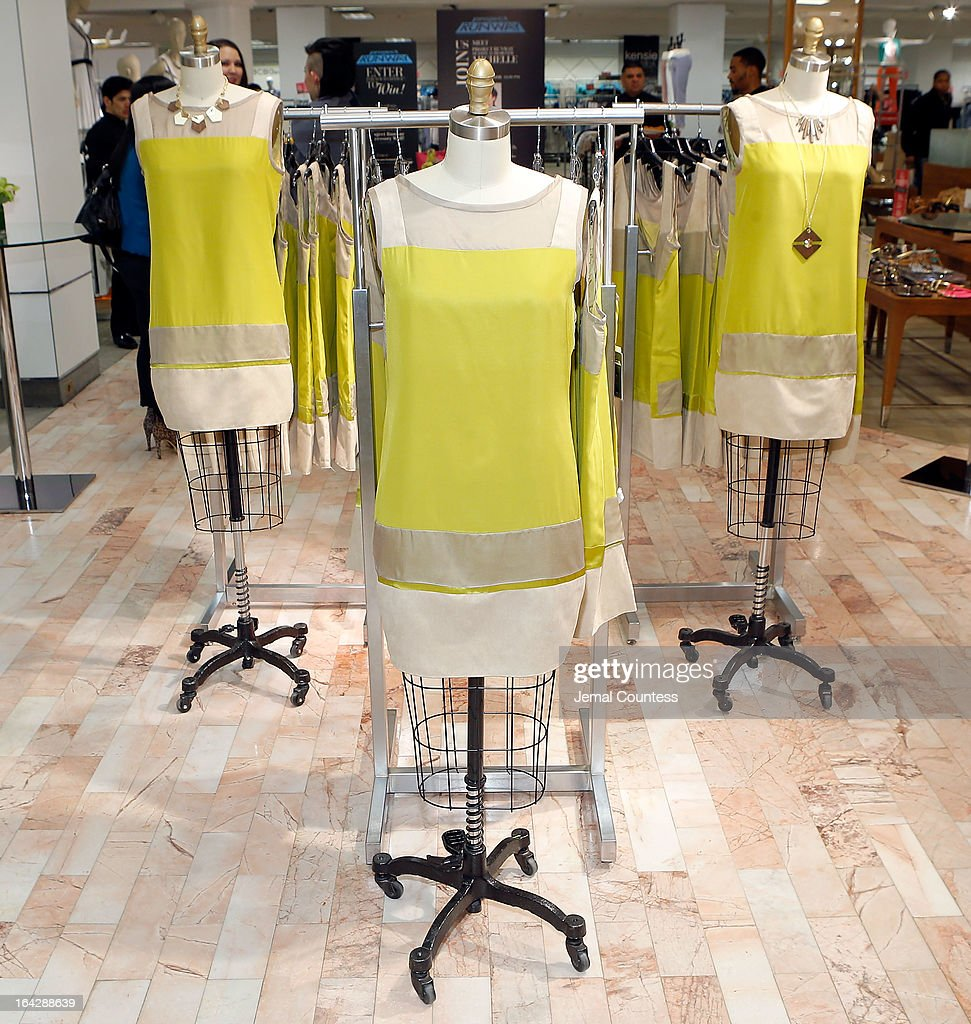 Designer Michelle Franklin's Project Runway Lord & Taylor challenge winning design on display during an in-store at the Lord & Taylor Flagship store on March 22, 2013 in New York City.