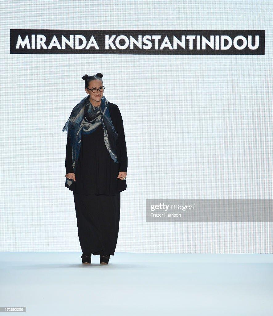 Designer Miranda Konstantinidou at the Miranda Konstantinidou Show during the Mercedes-Benz Fashion Week Spring/Summer 2014 at Brandenburg Gate on July 5, 2013 in Berlin, Germany.