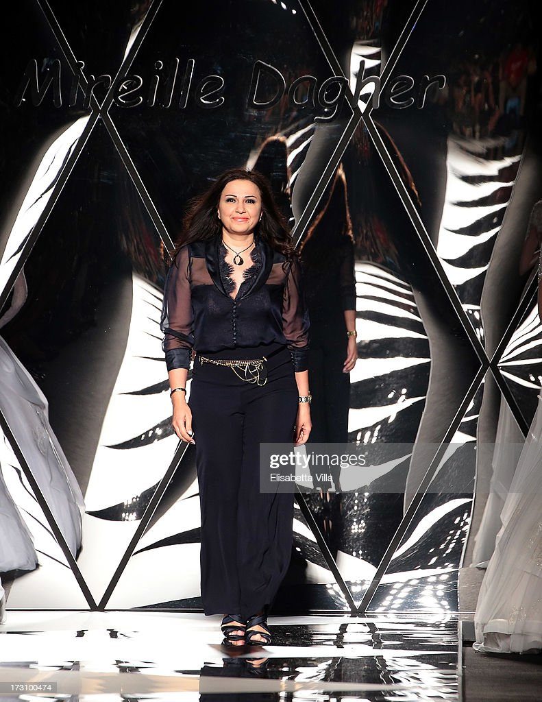 Designer Mireille Dagher walks the runway during her F/W 2013-2014 Haute Couture Colletion fashion show as part of AltaRoma AltaModa Fashion Week at Santo Spirito In Sassia on July 6, 2013 in Rome, Italy.