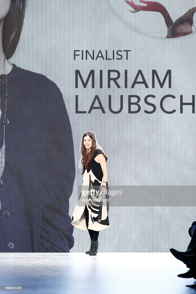 Designer Miriam Laubscher on the runway after the Seam show during Mercedes-Benz Fashion Days Zurich 2013 on November 14, 2013 in Zurich, Switzerland.