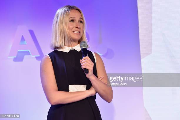 Designer Misha Nonoo speaks on stage during the POPSUGAR 2017 Digital NewFront at Industria Studios on May 3 2017 in New York City