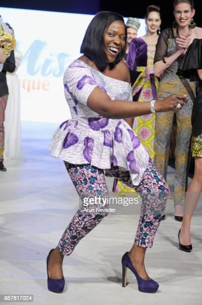 Designer Misi Adeniyi walks the runway at Vancouver Fashion Week Fall/Winter 2017 at Chinese Cultural Centre of Greater Vancouver on March 25 2017 in...