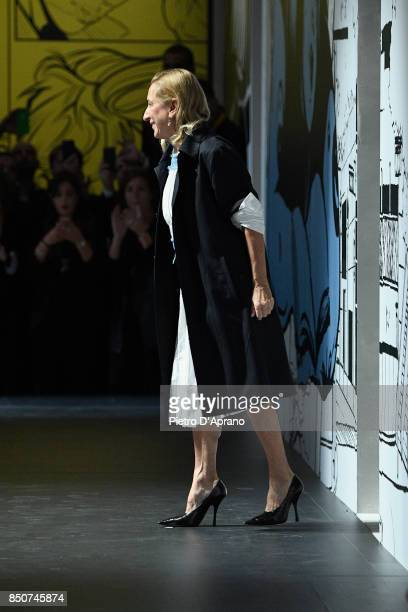 Designer Miuccia Prada walks the runway after the Prada show during Milan Fashion Week Spring/Summer 2018 on September 21 2017 in Milan Italy