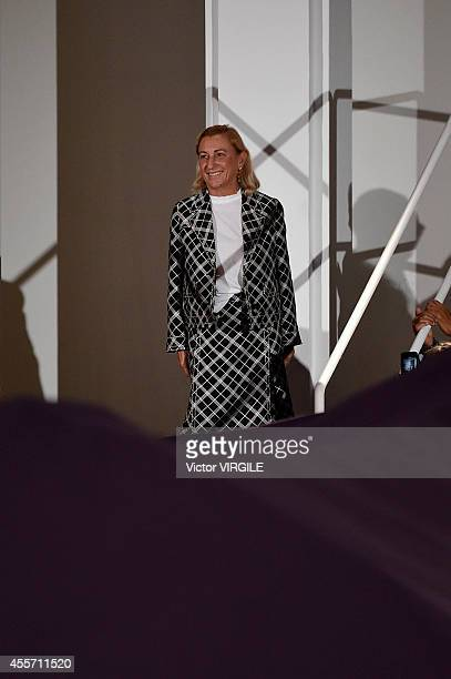 Designer Miuccia Prada walks the runway during the Prada Ready to Wear show as part of Milan Fashion Week Womenswear Spring/Summer 2015 on September...