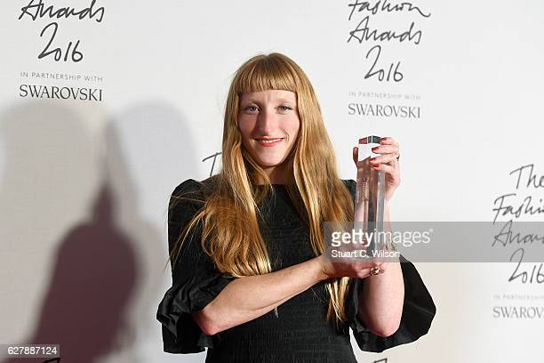 Designer Molly Goddard poses in the winners room after winning the award for British Emerging Talent at The Fashion Awards 2016 at Royal Albert Hall...