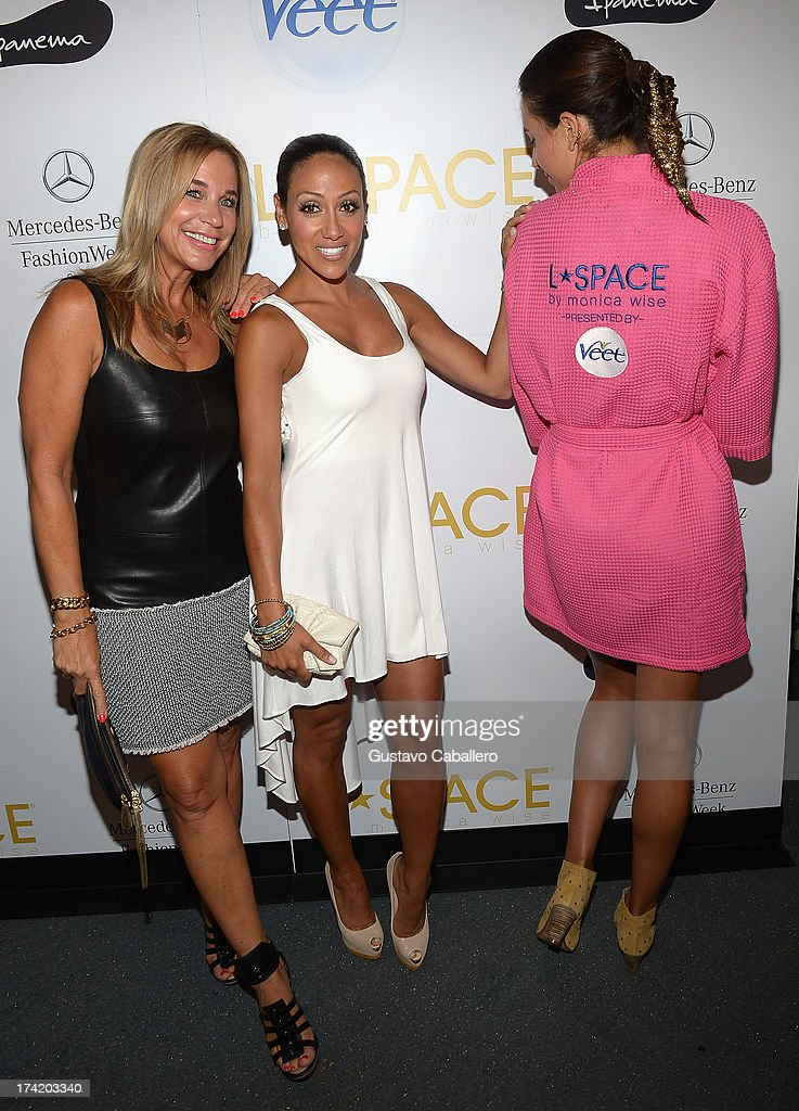 Designer Monica Wise and Melissa Gorga pose backstage with Ipanema at the L*SPACE By Monica Wise show during MercedesBenz Fashion Week Swim 2014 at...
