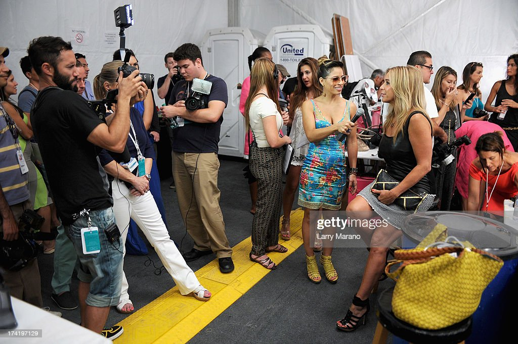 Designer Monica Wise (R) attends backstage at the L*Space By Monica Wise show during Mercedes-Benz Fashion Week Swim 2014 at Cabana Grande at the Raleigh on July 21, 2013 in Miami, Florida.