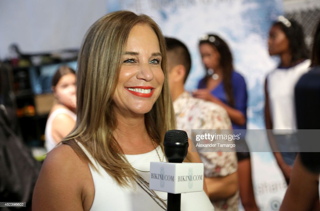 Designer Monica Wise is interviewed backstage at the L*Space By Monica Wise fashion show during MercedesBenz Fashion Week Swim 2015 at Cabana Grande...