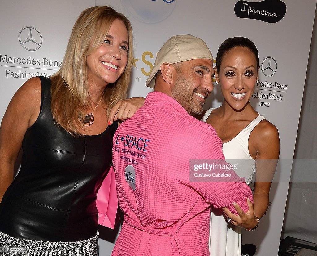 Designer Monica Wise Joe Gorga and Melissa Gorga pose backstage with Ipanema at the L*SPACE By Monica Wise show during MercedesBenz Fashion Week Swim...