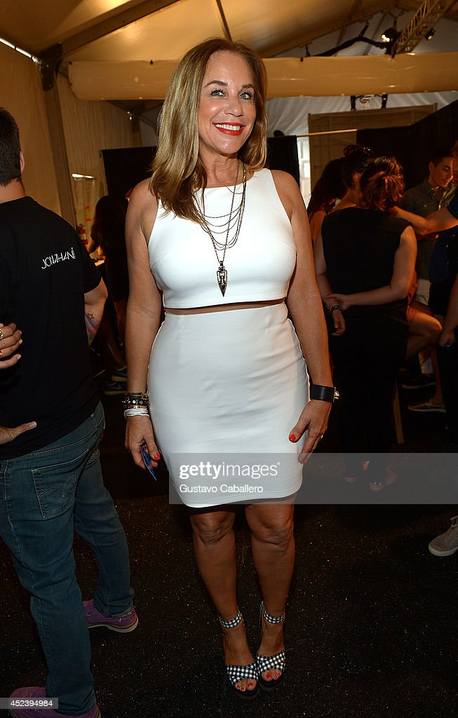 Designer Monica Wise poses backstage at L*SPACE By Monica Wise with Jonathan Product during MercedesBenz Fashion Week Swim 2015 at Cabana Grande at...