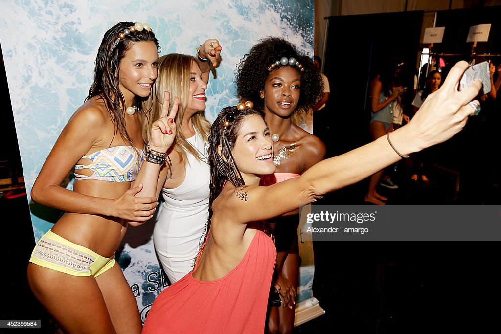 Designer Monica Wise poses backstage at the L*Space By Monica Wise fashion show during MercedesBenz Fashion Week Swim 2015 at Cabana Grande at The...