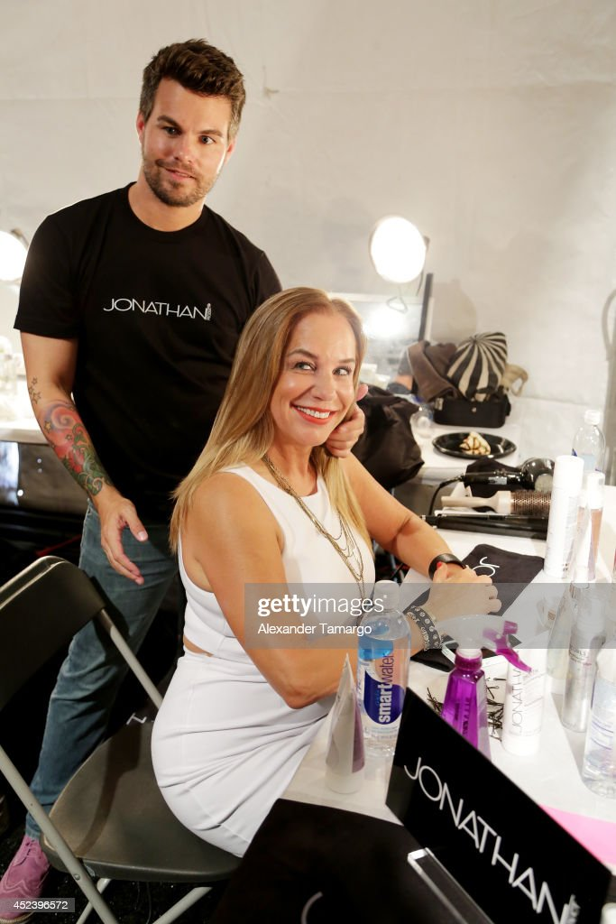 Designer Monica Wise prepares backstage at the L*Space By Monica Wise fashion show during MercedesBenz Fashion Week Swim 2015 at Cabana Grande at The...