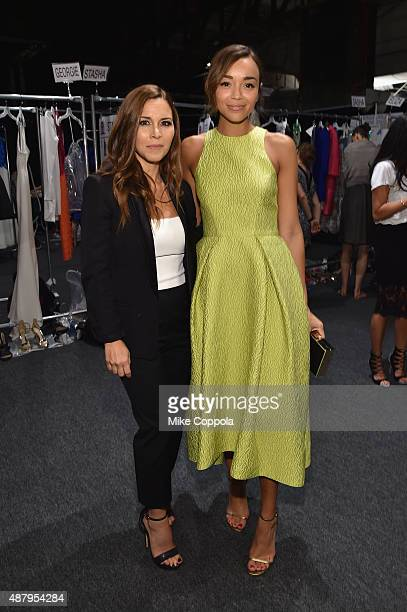 Designer Monique Lhuillier and actress Ashley Madekwe pose backstage at Monique Lhuillier Spring 2016 during New York Fashion Week The Shows at The...
