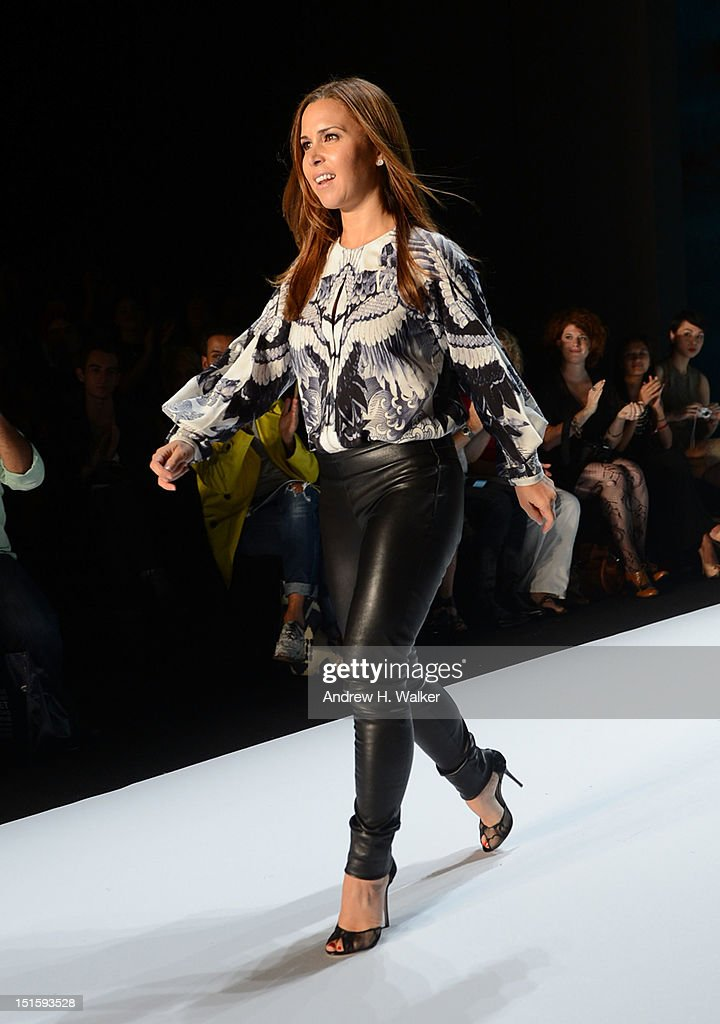 Designer Monique Lhuillier walks the runway at the Monique Lhuillier fashion show during Spring 2013 Mercedes-Benz Fashion Week at Lincoln Center for the Performing Arts on September 8, 2012 in New York City.