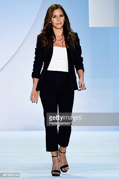 Designer Monique Lhuillier walks the runway wearing Monique Lhuillier Spring 2016 during New York Fashion Week The Shows at The Arc Skylight at...