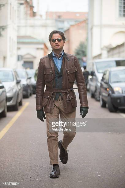 Designer Mr Raro wears his own suit on February 26 2015 in Milan Italy