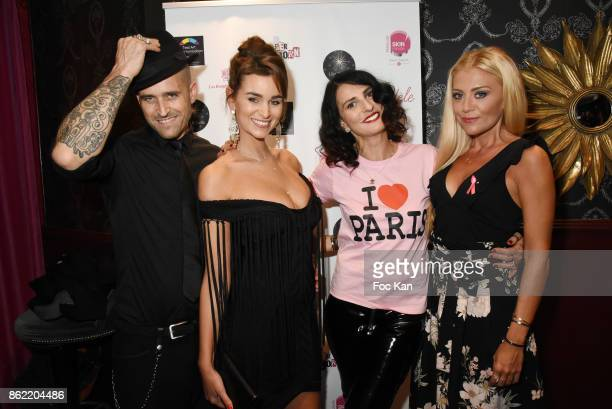 Designer Nacho Jewels Actress Elisa Bachir Bey model Sylvie Ortega Munos and designer Julia Battaia attend the 'Souffle de Violette' Auction Party As...