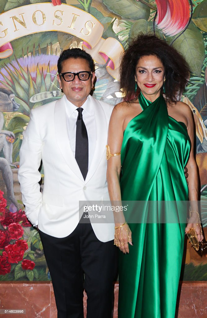 Designer Naeem Khan and Ranjana Khan attend the Krug Journey Miami at Faena Hotel on March 9 2016 in Miami Beach Florida
