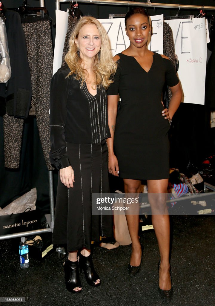 Designer Nanette Lepore and Condola Rashad pose backstage at the Nanette Lepore fashion show during MercedesBenz Fashion Week Fall 2014 at The Salon...