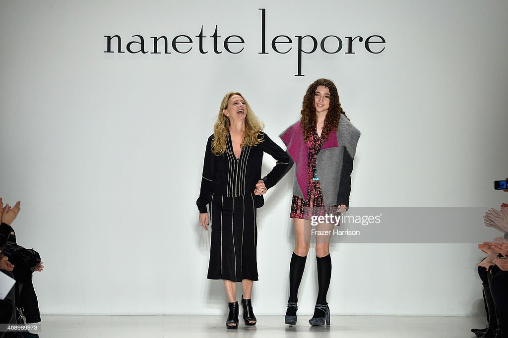 Designer <a gi-track='captionPersonalityLinkClicked' href=/galleries/search?phrase=Nanette+Lepore+-+Fashion+Designer&family=editorial&specificpeople=5410475 ng-click='$event.stopPropagation()'>Nanette Lepore</a>, and her daughter Violet walk the runway at the <a gi-track='captionPersonalityLinkClicked' href=/galleries/search?phrase=Nanette+Lepore+-+Fashion+Designer&family=editorial&specificpeople=5410475 ng-click='$event.stopPropagation()'>Nanette Lepore</a> fashion show during Mercedes-Benz Fashion Week Fall 2014 at The Salon at Lincoln Center on February 12, 2014 in New York City.