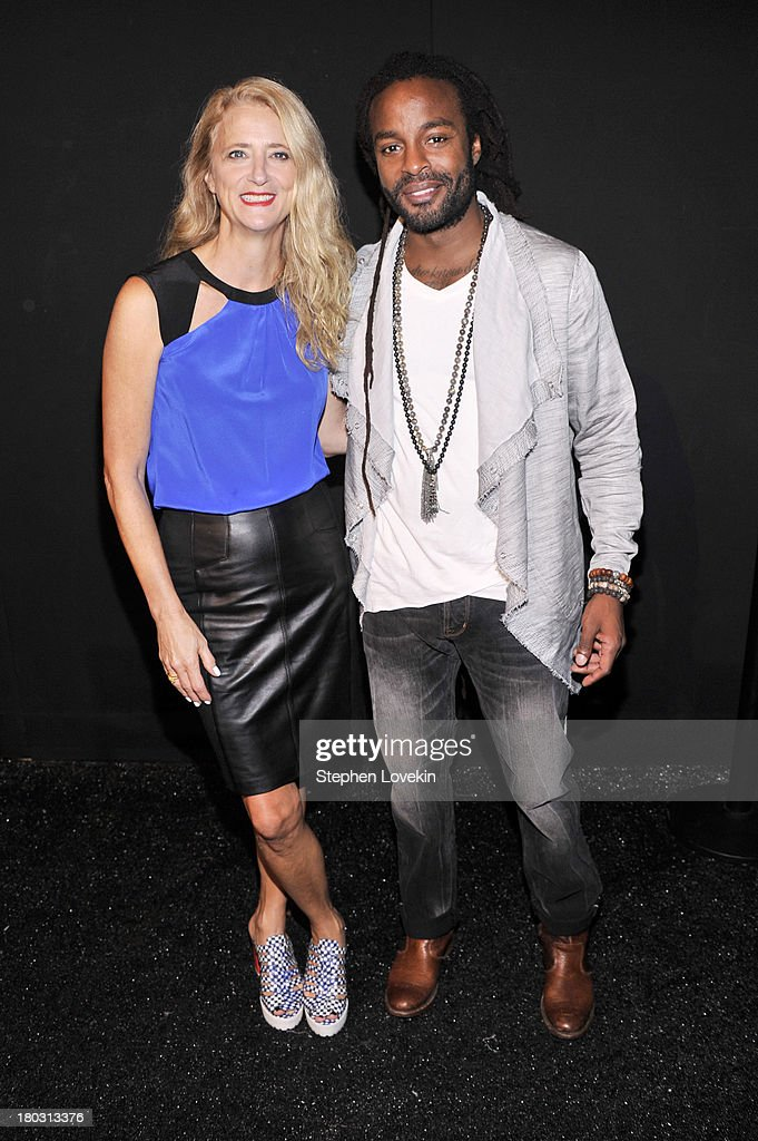 Designer Nanette Lepore (L) and musician John Forte pose backstage at the Nanette Lepore fashion show during Mercedes-Benz Fashion Week Spring 2014 at The Stage at Lincoln Center on September 11, 2013 in New York City.