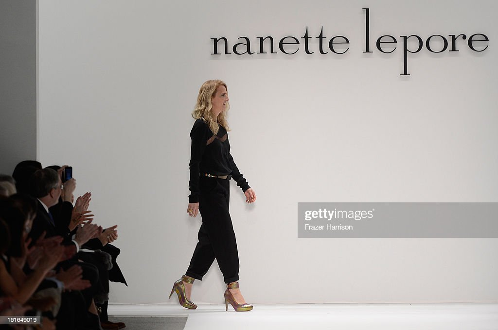 Designer <a gi-track='captionPersonalityLinkClicked' href=/galleries/search?phrase=Nanette+Lepore+-+Fashion+Designer&family=editorial&specificpeople=5410475 ng-click='$event.stopPropagation()'>Nanette Lepore</a> walks the runway at the <a gi-track='captionPersonalityLinkClicked' href=/galleries/search?phrase=Nanette+Lepore+-+Fashion+Designer&family=editorial&specificpeople=5410475 ng-click='$event.stopPropagation()'>Nanette Lepore</a> Fall 2013 fashion show during Mercedes-Benz Fashion Week at The Stage at Lincoln Center on February 13, 2013 in New York City.