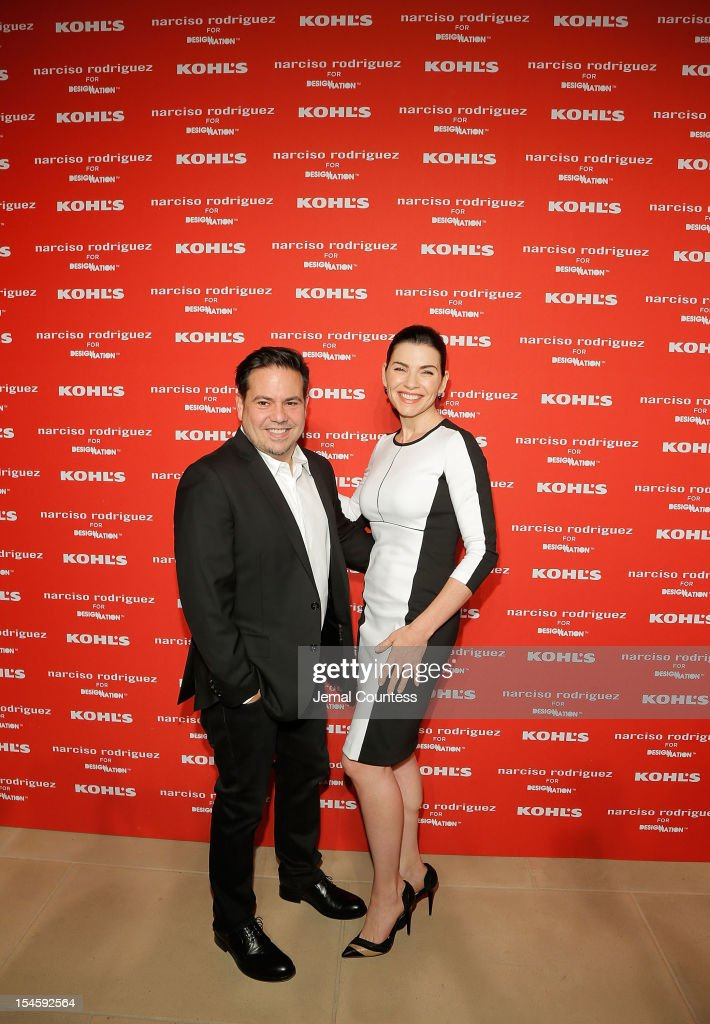 Designer Narciso Rodriguez and actress <a gi-track='captionPersonalityLinkClicked' href=/galleries/search?phrase=Julianna+Margulies&family=editorial&specificpeople=208994 ng-click='$event.stopPropagation()'>Julianna Margulies</a> attend Narciso Rodriguez Kohl's Collection Launch Party at IAC Building on October 22, 2012 in New York City.