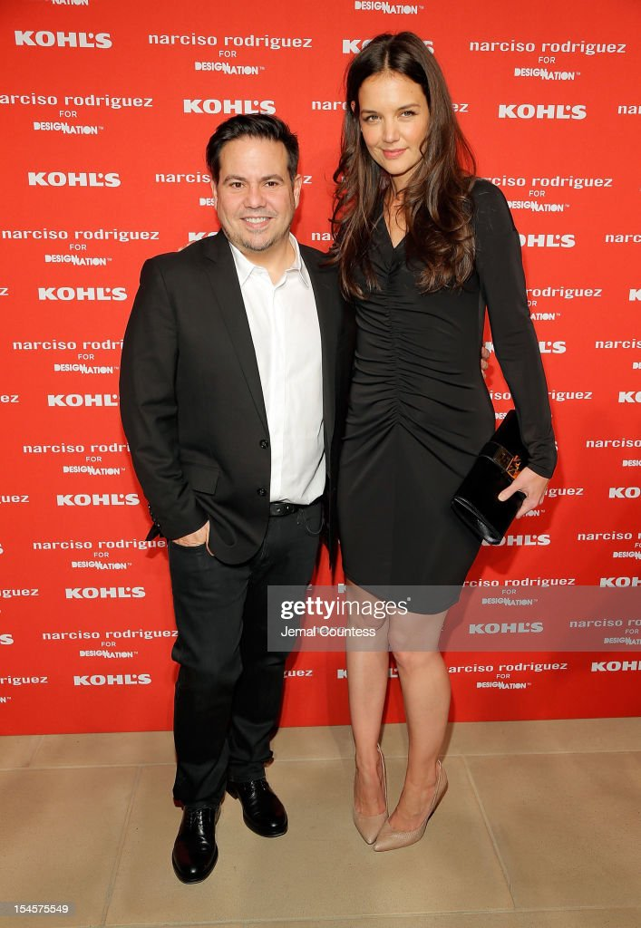 Designer Narciso Rodriguez and actress <a gi-track='captionPersonalityLinkClicked' href=/galleries/search?phrase=Katie+Holmes&family=editorial&specificpeople=201598 ng-click='$event.stopPropagation()'>Katie Holmes</a> attend Narciso Rodriguez Kohl's Collection Launch Party at IAC Building on October 22, 2012 in New York City.