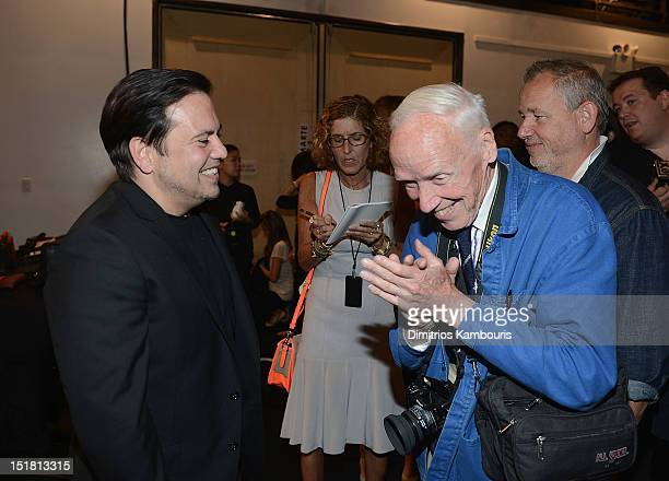 Designer Narciso Rodriguez and photographer Bill Cunningham attend the Narciso Rodriguez spring 2013 fashion show during MercedesBenz Fashion Week at...