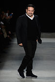 Designer Narciso Rodriguez walks the runway wearing Narciso Rodriguez Fall 2016 during New York Fashion Week at SIR Stage 37 on February 16 2016 in...