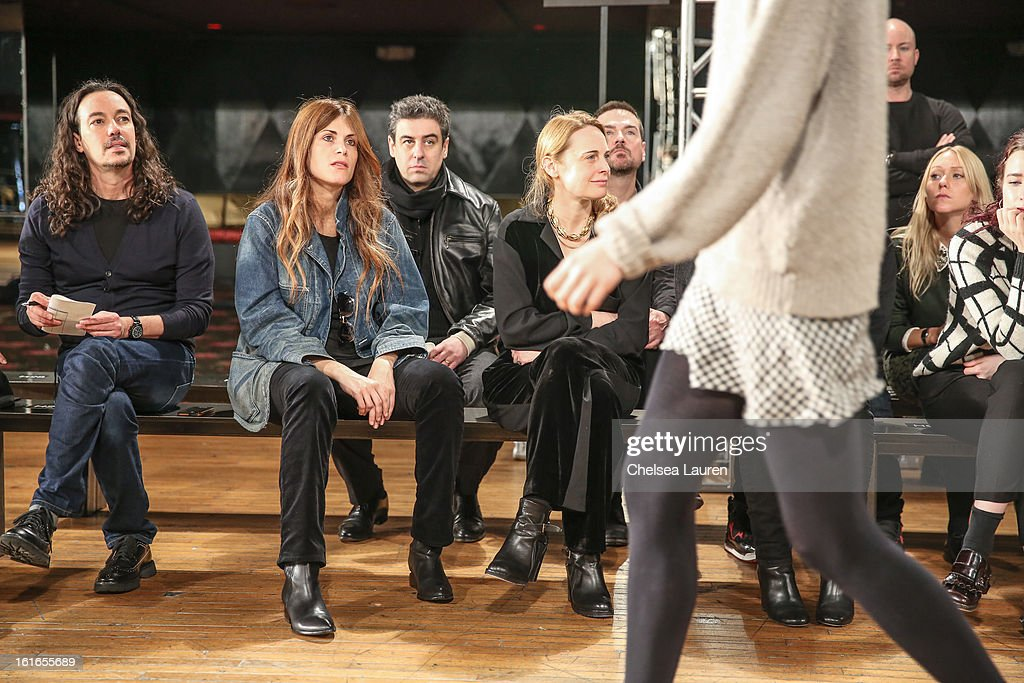 Designer Natalie Ratabesi (2L) watches rehearsal at the Philosophy By Natalie Ratabesi fall 2013 fashion show during Mercedes-Benz Fashion Week at Roseland Ballroom on February 13, 2013 in New York City.